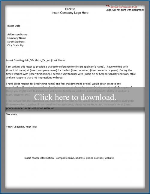 Character Reference Letter Sample for a Work Colleague