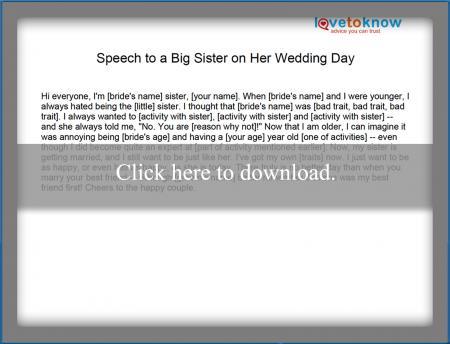 Speech On Big Sisters Wedding Day