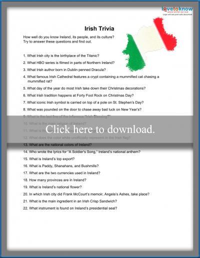 Irish trivia questions