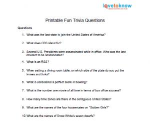 Candy Trivia Free Printable Trivia Answers