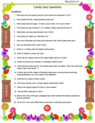 Printable candy quiz