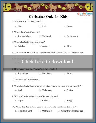 childrens christmas trivia