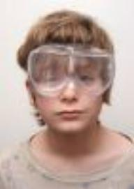 Safety goggles protect fragile eyes
