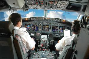 Inside a commercial airline cockpit