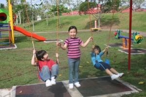 Three children play happily
