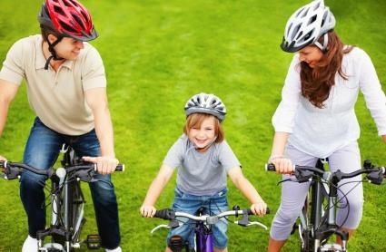 Family riding their bicycles