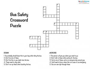Worksheet Bus Safety Worksheets back to school safety worksheets bus cross word