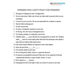 Swimmers safety policy printable