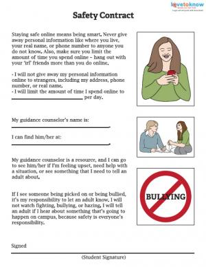 Printables Internet Safety Worksheets back to school safety worksheets contract for teens