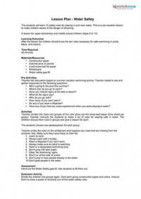 Printables Water Safety Worksheets summer safety lesson plans water plan