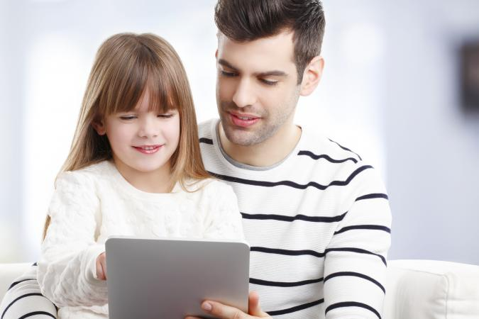 parent and child using Internet