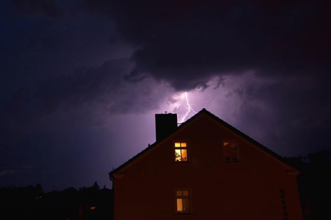 lightning striking home