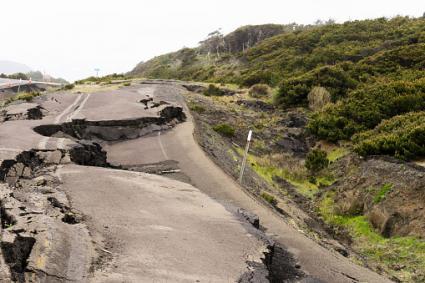 Earthquake damaged road