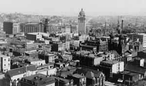 The Call Building and the 1900 San Francisco skyline.