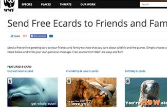 Screenshot of WWF Free ECards
