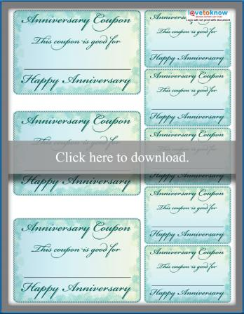 Homemade Anniversary Coupons