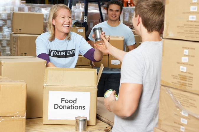 Volunteers Collecting Food Donations