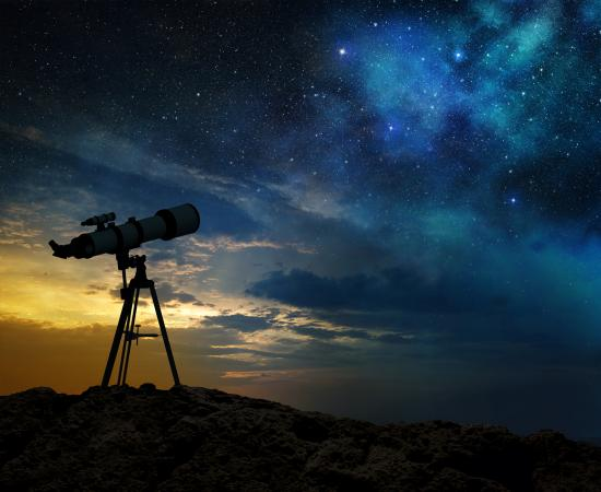 Milky way and telescope