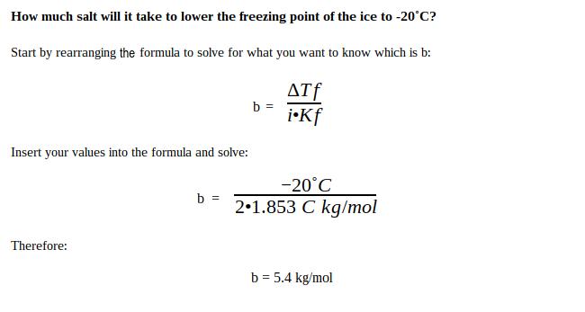 Freezing point depression solution #1