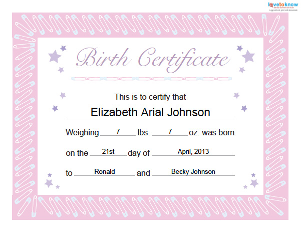 Doc585453 Birth Certificate Template Free Download Birth – Birth Certificate Template Free Download