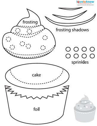 Paper piecing cupcake pattern