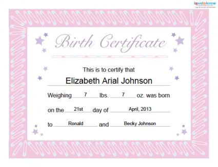 girl birth certificate template