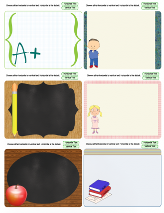 school theme journal cards