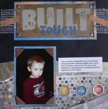 scrapbook page with first aid supplies