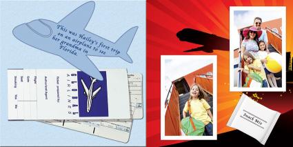 Child's first airplane adventure scrapbook page