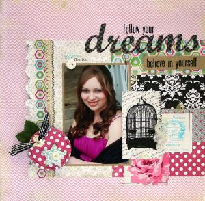 Follow your dreams scrapbook page by Julia Stainton