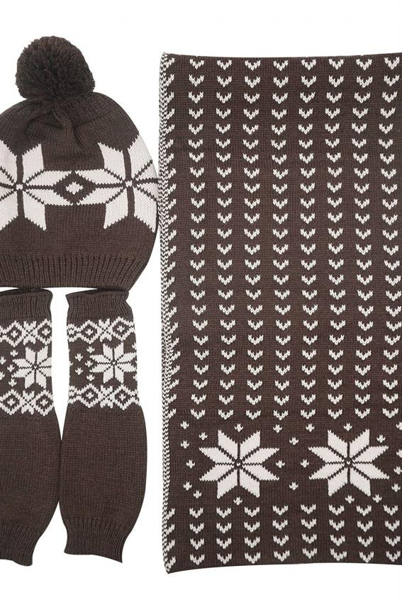 Snowflake Hat, Gloves and Scarf Set