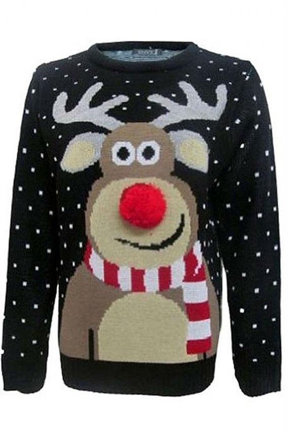 Forever Womens Rudolph Reindeer Print Snowflake Sweater