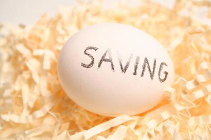 "Egg with ""savings"" written on it"