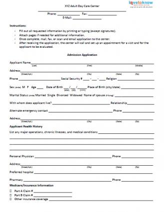 Admission Form for Adult Day Care Center