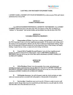 last wills and testaments free templates - free forms for living trust and will lovetoknow