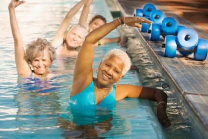 Senior Women Exercising in Swimming Pool