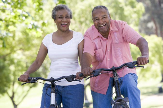 seniors with bikes