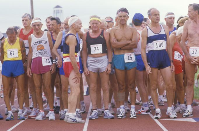 Senior runners at the starting line