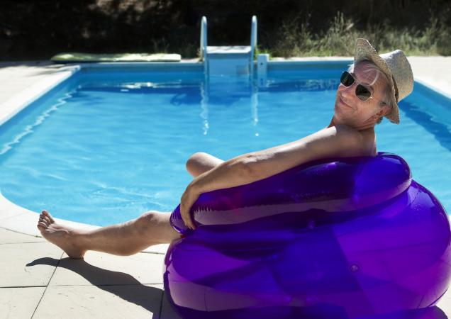 nudist at resort pool