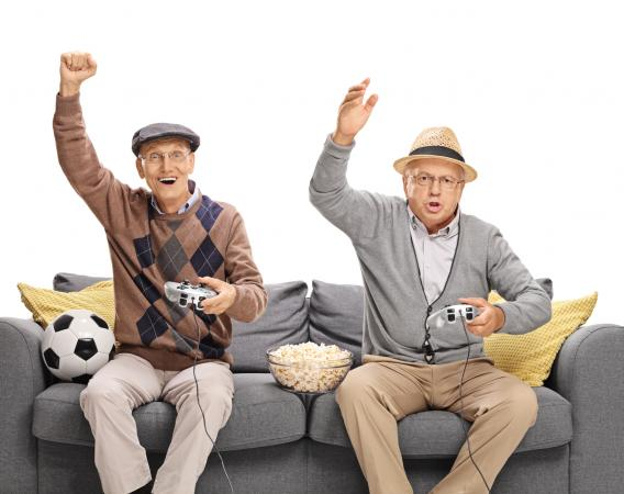 seniors playing video game