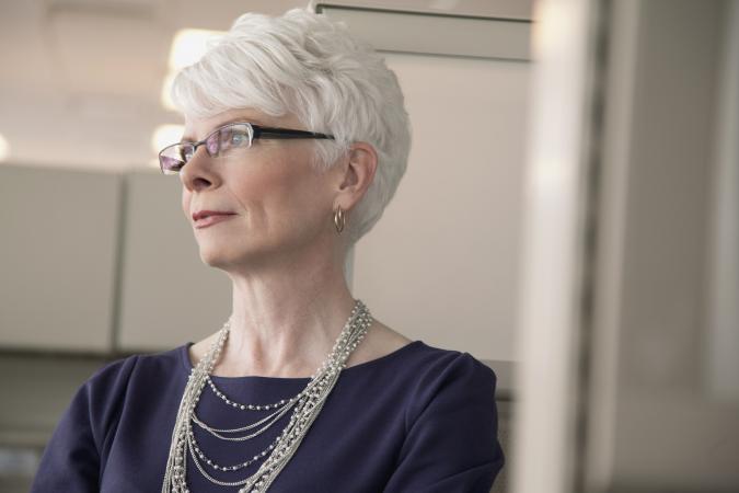 senior businesswoman with short hair