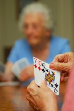 seniors playing cards