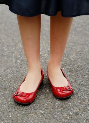 Red flats look stylish year-round.