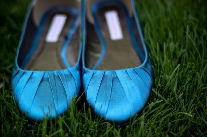 satin blue flats