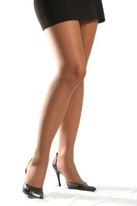 flesh colored stockings and black heels