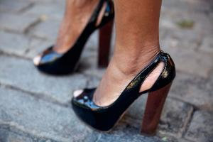 Dr. Etufugh in open toe square heel shoes