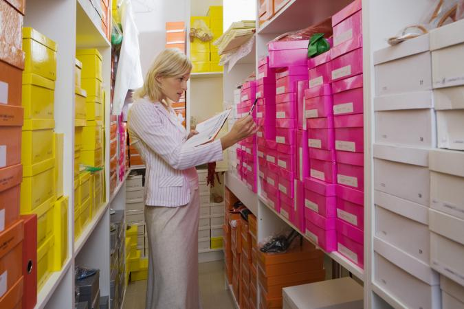 Woman in shoe warehouse