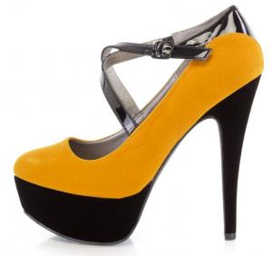 Mustard Cross Strappy Platform 6 Inch High Heels Velvet