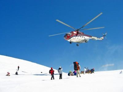 Heli skiing drop off