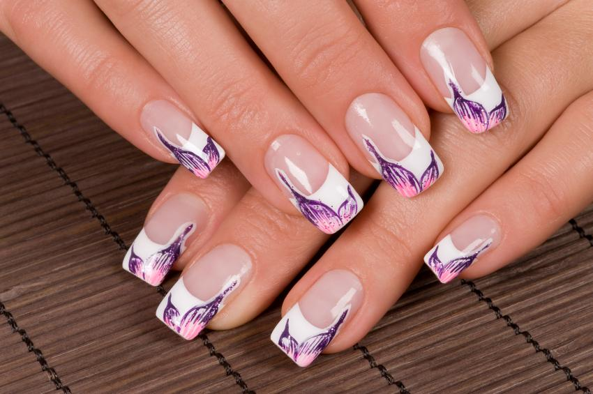 French nail pictures lovetoknow purple and pink french nails prinsesfo Choice Image